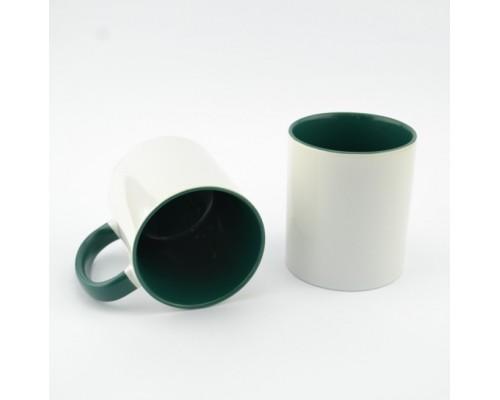 Кружка MT-B002Н для сублимации, ручка и внутренняя часть в цвете, 11oz, Зеленая  (48)