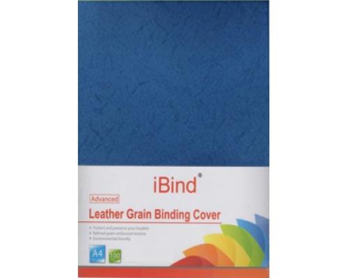 Обложка картон кожа iBind А4/100/230г  темно-синяя (Blue)  (LG-01)