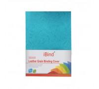 Обложка картон кожа iBind А4/100/230г  синяя (Lake blue)  (LG-08)